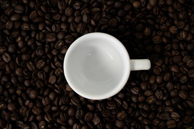 a coffee cup sitting atop dark roast beans