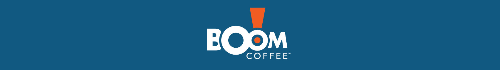 boom coffee banner logo in blue