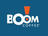 boom coffee logo in blue