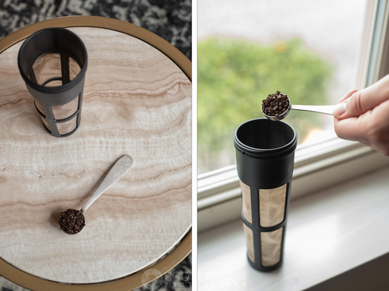 a coffee spoon and cold brew filter