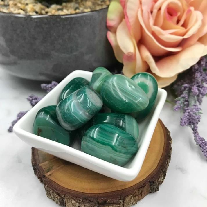 Agate Banded Green - Large Tumbled Stone