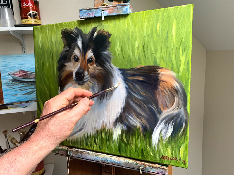 Dog Portrait, Oil painting, Pet Portrait, Pet gift, Pet memorial, Animal House Portraits