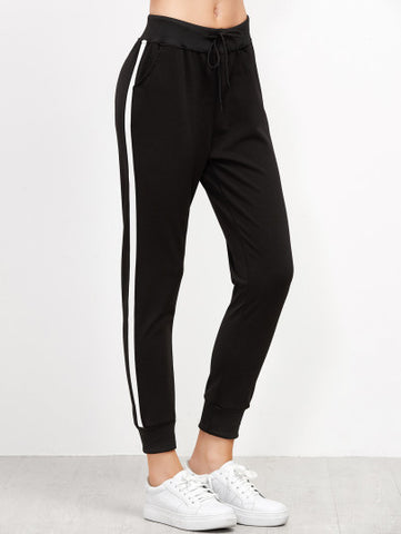 Black Side Striped Drawstring Pants