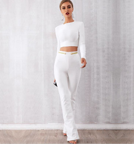 2pc White Pant Set