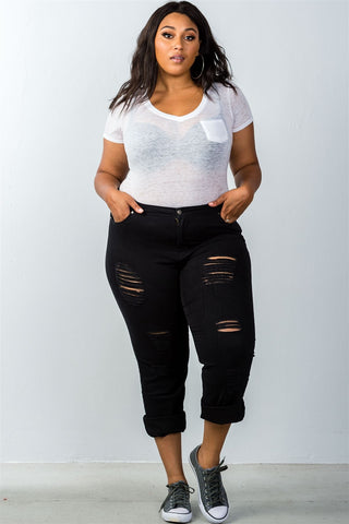 Plus Size Distress Jeans