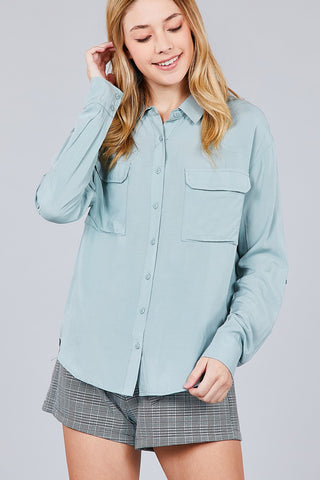 Roll Up Sleeve Chest Flap Pocket Woven Shirts