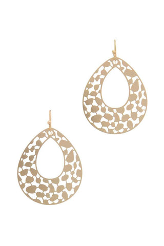Laser Cut Metal Teardrop Shape Earring