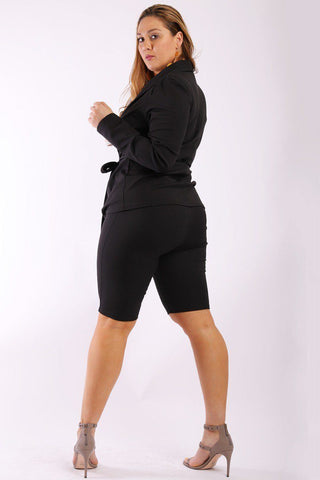 Plus Size Open Front Jacket with Fitted Capri Shorts