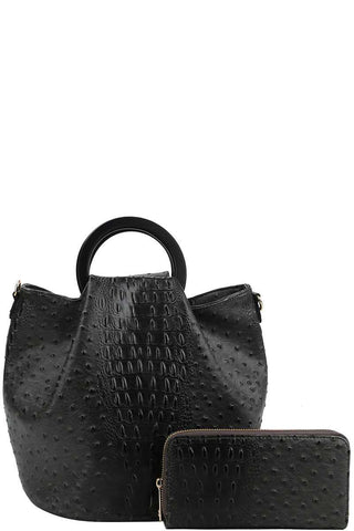 2 in 1 Croc Pattern Trapeze Bag