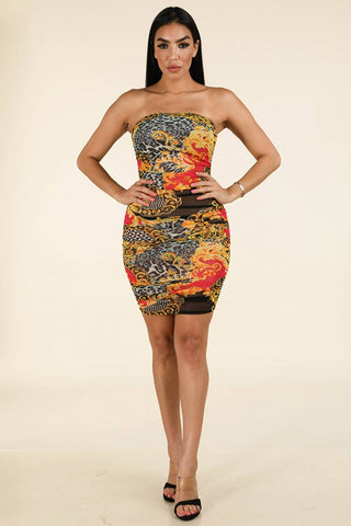 Multi Prind Side Ruching Tube Dress