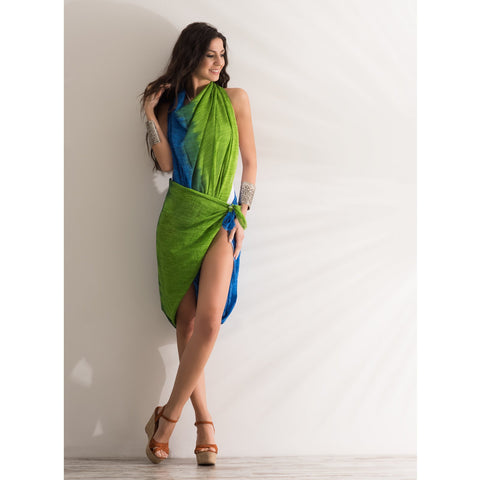 Green & Blue Sarong Coverup