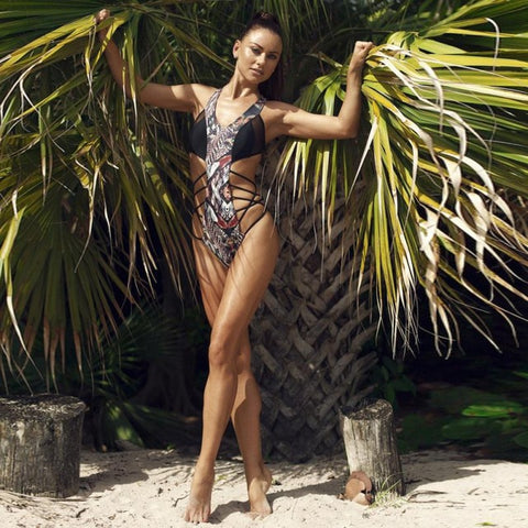 Embroider Animal Print One Piece Swimsuit