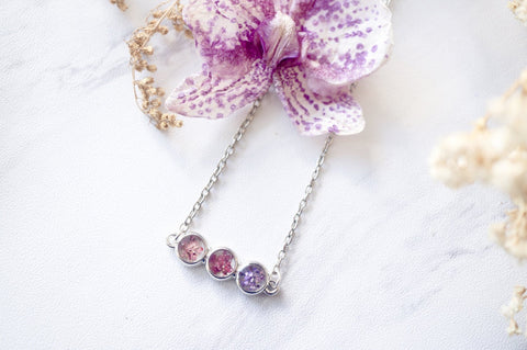 Real Pressed Flowers and Resin Necklace Ombre Pink Purple Bar