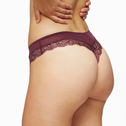 Lace Trim Thong in Blush Harlow