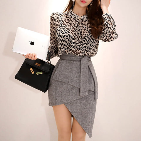 Asymmetrical skirt and blouse set