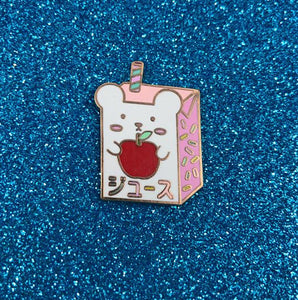 Apple Juice Hard Enamel Pin - Bashful Bear Kawaii Drinks Series