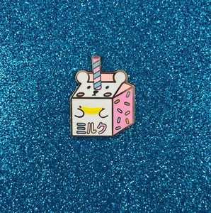 Banana Milk Bear Carton Hard Enamel Pin - Bashful Bear Drink Fridge Series