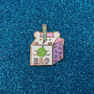 Melon Milk Bear Carton Hard Enamel Pin - Bashful Bear Drink Fridge Series