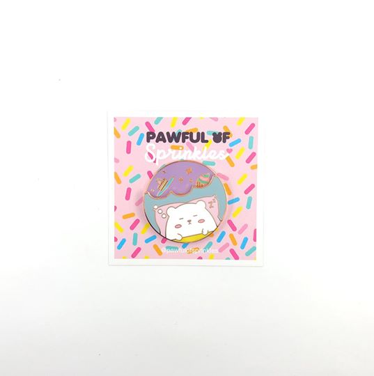 Spinning Sleepy Bashful Bear Hard Enamel Pin