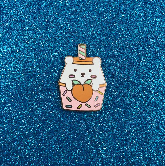 Peach Yogurt Hard Enamel Pin - Bashful Bear Kawaii Drink Series