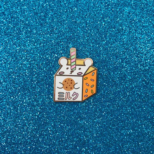 Cookie Milk Bear Carton Hard Enamel Pin - Bashful Bear Drink Fridge Series