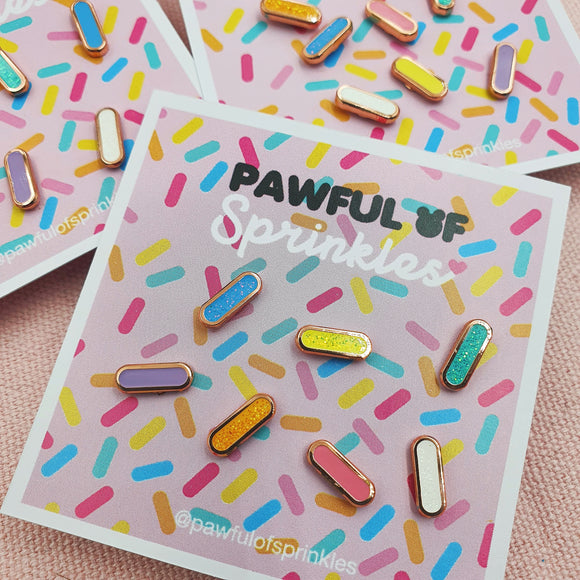 Pastel Rainbow Sprinkles Enamel Mini Pin Set