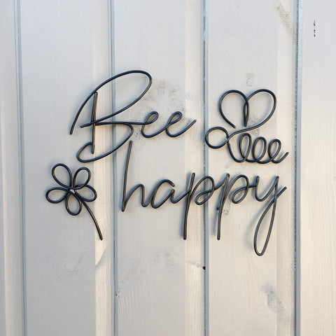 Bee happy (with flower and bee) - Wire wall art