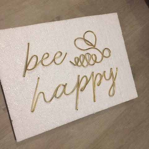 Bee happy (with bee) - Wire wall art
