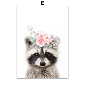 Flower Crown Baby Animals Wall Art Collection
