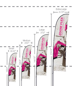Size Comparisons between the small, medium, large and extra large sizes of fabric flags