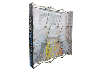 Rear view of fabric pop up display
