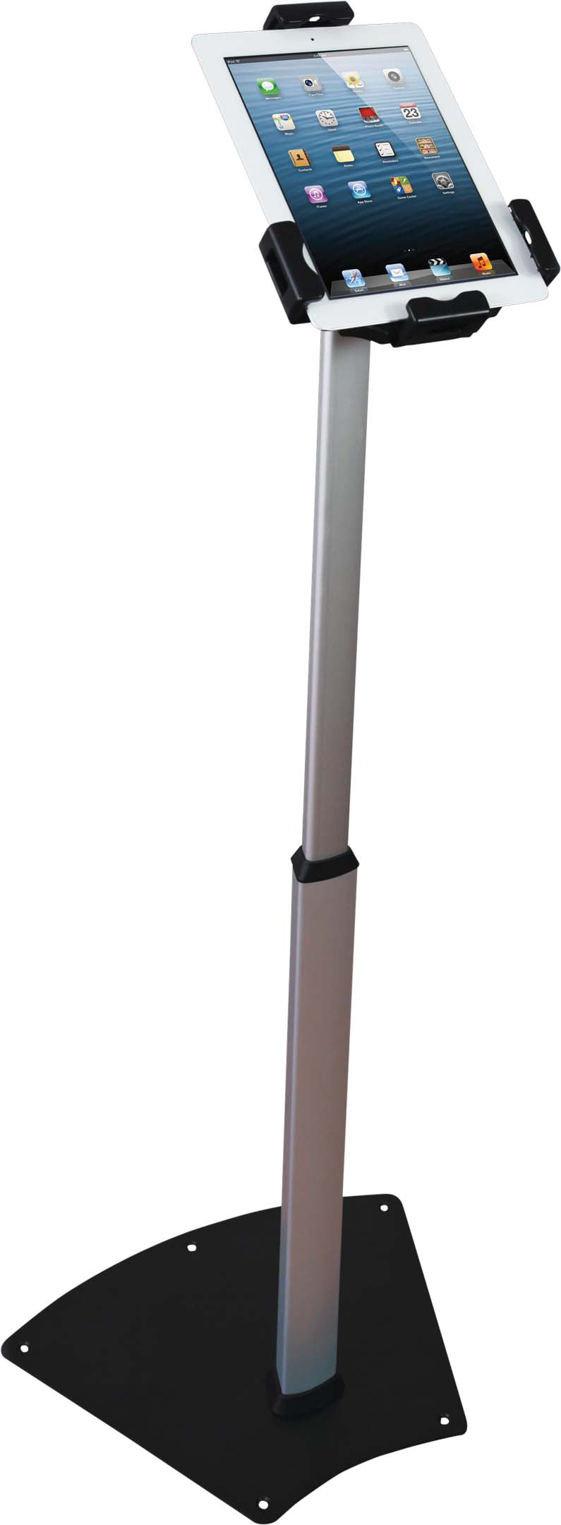 steel stand holding an iPad tablet
