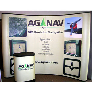 pop up display with podium stand in front