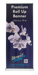 premium roll up banner stand with floral design