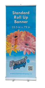 front facing view of standard roll up banner/retractable banner/ zap stand with flower graphic
