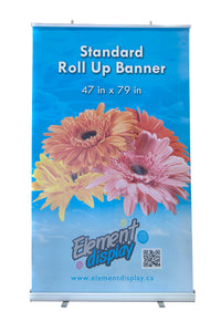 standard extra large roll up banner with floral design