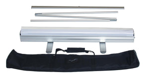three part foldable aluminium poles and standard banner stand with black carry bag