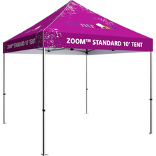 Load image into Gallery viewer, 10 foot fabric tent, standing alone; four tall legs, with the fabric covering the top. Angle from the left side.