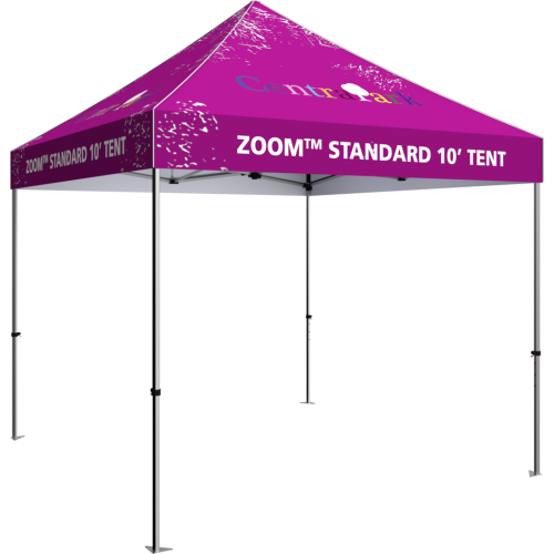 10 foot fabric tent, standing alone; four tall legs, with the fabric covering the top. Angle from the left side.