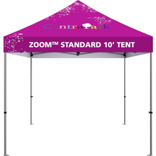 Load image into Gallery viewer, 10 foot fabric tent, standing alone. Angle from the front.10 foot fabric tent, standing alone; four tall legs, with the fabric covering the top. Angle from the front.