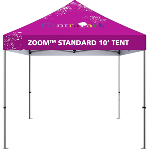 10 foot fabric tent, standing alone. Angle from the front.10 foot fabric tent, standing alone; four tall legs, with the fabric covering the top. Angle from the front.