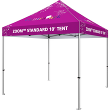 Load image into Gallery viewer, 10 foot fabric tent, standing alone; four tall legs, with the fabric covering the top. Angle from the right side.