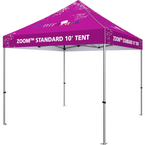 10 foot fabric tent, standing alone; four tall legs, with the fabric covering the top. Angle from the right side.