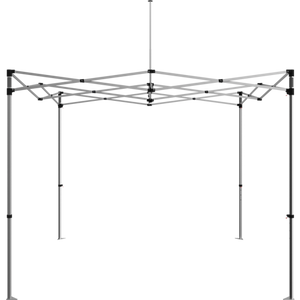 Frame for the 10 foot popup tent, without the fabric. Standing alone, angle from the front. Frame is four legs, intermingled metal webbing on the top and one single pole in the center (top) to help the tent hold its shape.