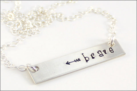 Brave with Arrow Bar Necklace