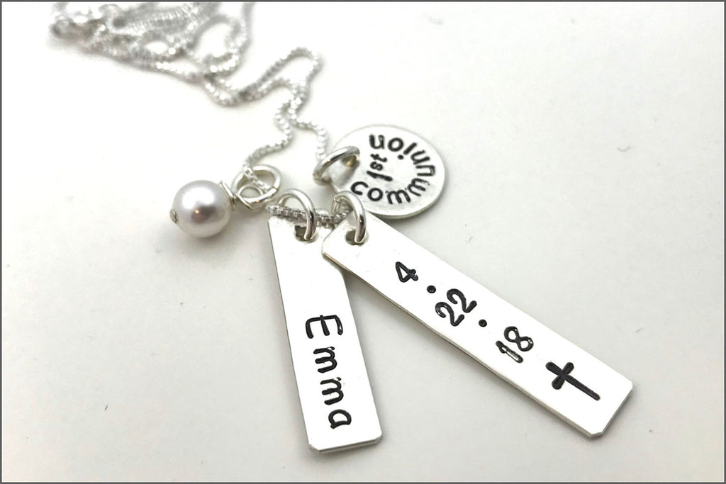 communion necklace hand first stamped