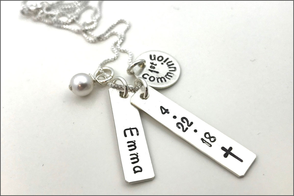 Personalized First Communion Necklace | First Communion Date Necklace, Sterling Silver Christian Jewelry, Custom First Communion Gifts