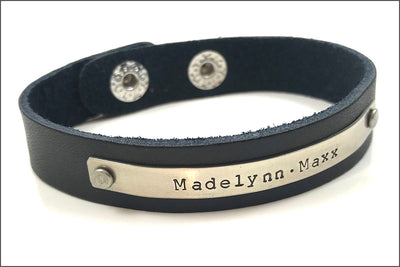 "Custom Date 1/2"" Leather Bracelet 