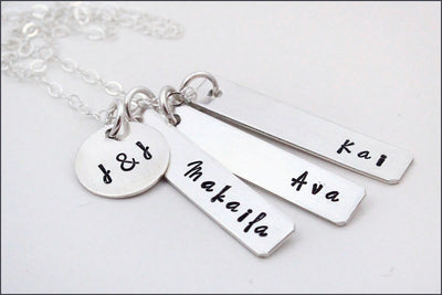 Personalized Family Tag Necklace with Initials | Gold Filled, Rose Gold, or Sterling Silver