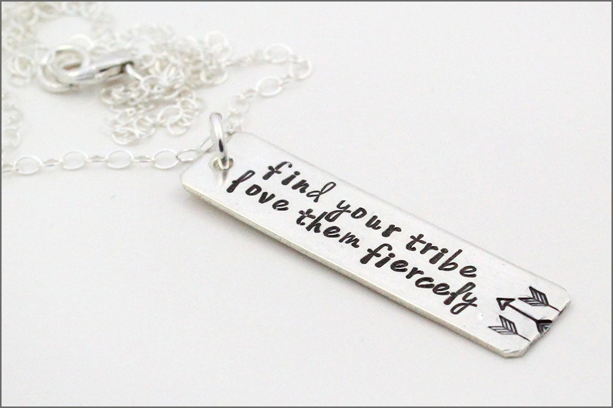 Find Your Tribe Love Them Fiercely Necklace | Custom Silver Rectangle Necklace